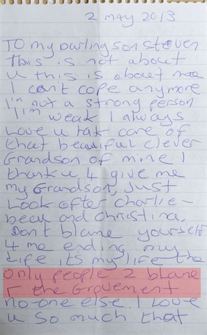 Stephanie Bottrill Suicide Note DWP Alleged Culpability After The Fact